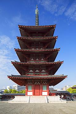 Pagoda at Shitenno-ji Temple, Tennoji, Osaka, Kansai, Japan, Asia