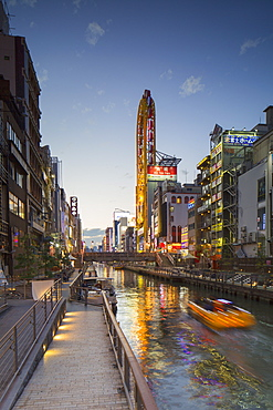 Dotombori at dusk, Osaka, Kansai, Japan, Asia