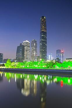 International Finance Centre and skyscrapers in Zhujiang New Town at dusk, Tian He, Guangzhou, Guangdong, China, Asia