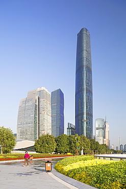 International Finance Centre and skyscrapers in Zhujiang New Town, Tian He, Guangzhou, Guangdong, China, Asia