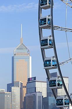 Ferris wheel and Wan Chai skyline, Hong Kong Island, Hong Kong, China, Asia