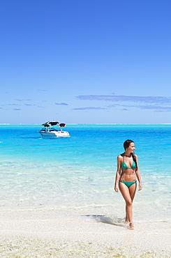 Woman on Motu Pit Aau, Bora Bora, Society Islands, French Polynesia, South Pacific, Pacific