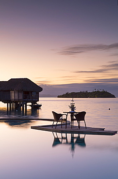 Pool of Sofitel Hotel at dawn, Bora Bora, Society Islands, French Polynesia, South Pacific, Pacific