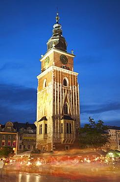 Town Hall Tower in Main Market Square (Rynek Glowny), UNESCO World Heritage Site, Krakow, Poland, Europe