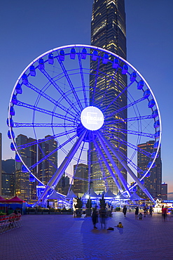 Ferris wheel at dusk, Central, Hong Kong Island, Hong Kong, China, Asia