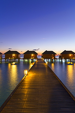 Overwater villas at Olhuveli Beach and Spa Resort, South Male Atoll, Kaafu Atoll, Maldives, Indian Ocean, Asia