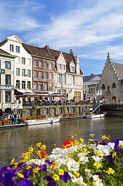 Leie Canal, Ghent, Flanders, Belgium, Europe