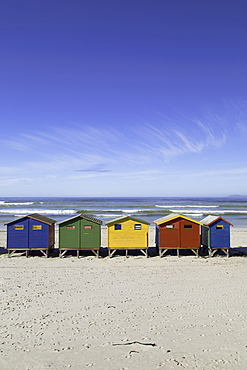 Beach huts on Muizenburg Beach, Cape Town, Western Cape, South Africa, Africa