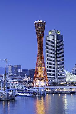 Port Tower at dusk, Kobe, Kansai, Japan, Asia