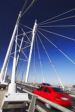 Cars crossing Nelson Mandela Bridge, Newtown, Johannesburg, Gauteng, South Africa, Africa