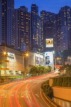 Apartment blocks at dusk, Admiralty, Hong Kong, China, Asia