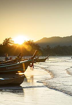 Kata Beach at sunrise, Phuket, Thailand, Southeast Asia, Asia