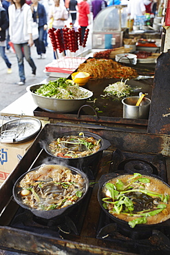 Hot pot cooking on stove, Fuzi Miao area, Nanjing, Jiangsu, China, Asia
