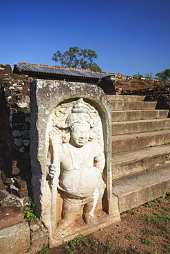 Guardstone of the Royal Palace of the Citadel, Anuradhapura, UNESCO World Heritage Site, North Central Province, Sri Lanka, Asia