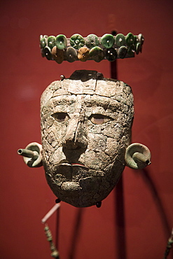 Mask of the Red Queen from the tomb found in Temple XIII, Archaeological Museum of Palenque, Palenque Archaeological Zone, Chiapas, Mexico, North America