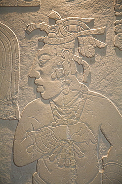 Stucco motif of a slave, Archaeological Museum of Palenque, Palenque Archaeological Zone, Chiapas, Mexico, North America