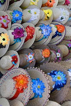 Handmade hats for sale, Plaza San Francisco, Patzcuaro, Michoacan, Mexico, North America