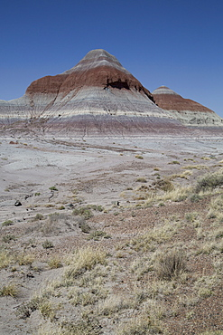 Sedimentary layers of bluish bentonite clay, The Tepees, Petrified Forest National Park, Arizona, United States of America, North America