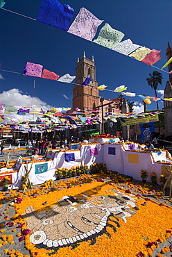 Decorations for the Day of the Dead festival with Iglesia de San Rafael in the background, Plaza Principal, San Miguel de Allende, Guanajuato, Mexico, North America - 801-121