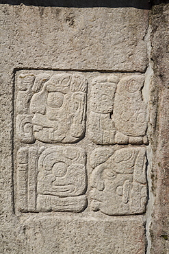 Glyphic texts, Patio of the Captives, the Palace, Palenque Archaeological Park, UNESCO World Heritage Site, Palenque, Chiapas, Mexico, North America