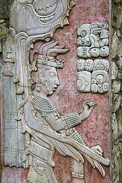 Temple XIX, sculptured relief, Palenque Archaeological Park, UNESCO World Heritage Site, Palenque, Chiapas, Mexico, North America