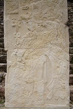Stela 3, ruler Chaan Muan II hovering over a captive, Mayan Archaeological Site, Bonampak, Chiapas, Mexico, North America