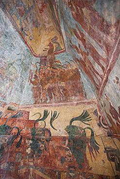 Murals, Room 3, Building 1, Mayan Archaeological Site, Bonampak, Chiapas, Mexico, North America