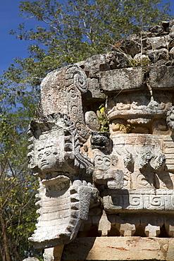 Serpent's Head with Human Face, The Palace, Labna, Mayan Ruins, Yucatan, Mexico, North America