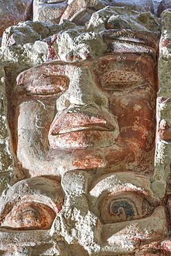 Painted stucco frieze, 55 feet long, inside Structure I, Classic Period, Balamku, Mayan archaeological site, Peten Basin, Campeche, Mexico, North America