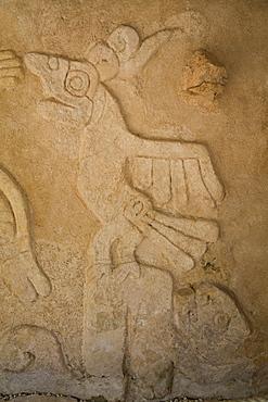 Figures of stucco relief, Castillo de Kukulcan, Mayapan, Mayan archaeological site, Yucatan, Mexico, North America
