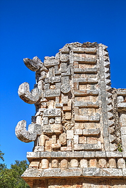 Chac Rain God masks, The Palace, Xlapak, Mayan archaeological site, Yucatan, Mexico, North America