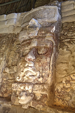 Temple of the Masks, with 8 foot tall mask, Kohunlich, Mayan archaeological site, Quintana Roo, Mexico, North America