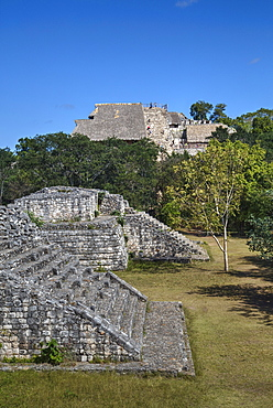 Structure 17 in the foreground with The Acropolis behind, Ek Balam, Mayan archaeological site, Yucatan, Mexico, North America