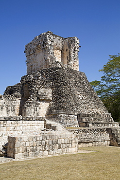 Dzibilnocac (Painted Vault) Temple, Dzibilnocac, Mayan archaeological ruins, Chenes style, Campeche, Mexico, North America