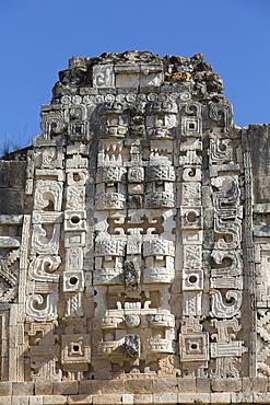 Chac Rain God masks, Nuns Quadrangle, Uxmal, Mayan archaeological site, UNESCO World Heritage Site, Yucatan, Mexico, North America