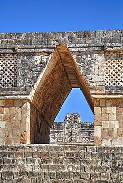 Corbelled arch, Nuns Quadrangle, Uxmal, Mayan archaeological site, UNESCO World Heritage Site, Yucatan, Mexico, North America