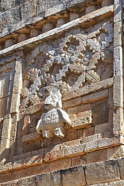 Stucco relief, Nuns Quadrangle, Uxmal, Mayan archaeological site, UNESCO World Heritage Site, Yucatan, Mexico, North America