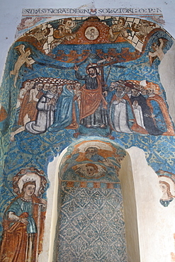 16th century frescoes, Church of San Bernadino de Siena and Convent of Sisal, founded in 1552, Valladolid, Yucatan, Mexico, North America