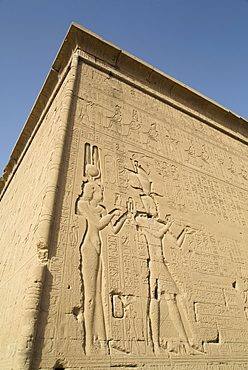 Relief depicting Cleopatra and Caesarion, Temple of Hathor, Dendera, Egypt, North Africa, Africa