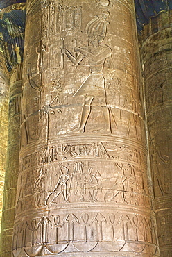 Columns in the Hypostyle Hall, Temple of Horus, Edfu, Egypt, North Africa, Africa