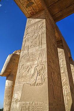 Decorative reliefs, Hypostyle Hall, The Ramesseum (Mortuary Temple of Ramese II), Luxor, West Bank, Thebes, UNESCO World Heritage Site, Egypt, North Africa, Africa