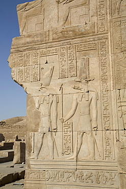 Bas-relief of the Gods Sobek on right and Horus on left, Temple of Haroeris and Sobek, Kom Ombo, Egypt, North Africa, Africa