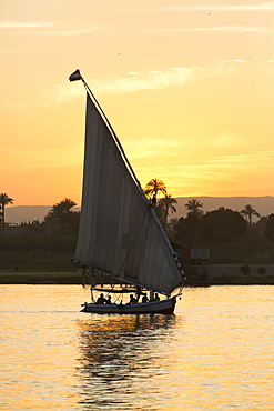 Felucca on the Nile River, Luxor, Egypt, North Africa, Africa