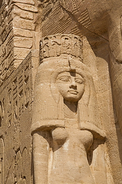 Statue of Queen Nefertari, Sun Temple, Abu Simbel, UNESCO World Heritage Site, Egypt, North Africa, Africa