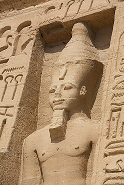 Rock-hewn statue of Ramses II, Hathor Temple of Queen Nefertari, Abu Simbel, UNESCO World Heritage Site, Egypt, North Africa, Africa