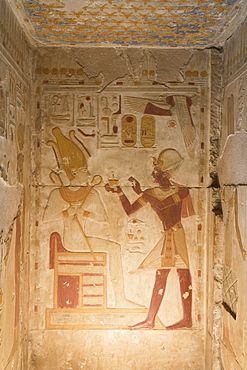 Bas-relief, Pharaoh Seti I on right, Temple of Seti I, Abydos, Egypt, North Africa, Africa