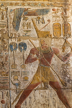 Colorful bas-relief, Ramses II, Luxor Temple, Luxor, Thebes, UNESCO World Heritage Site, Egypt, North Africa, Africa