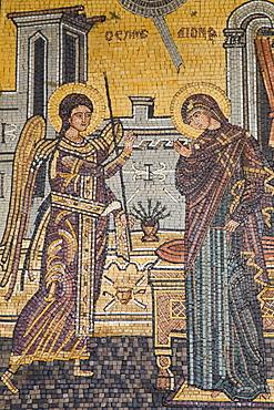 Mosaics on the wall of St. George's Church, Madaba, Jordan, Middle East