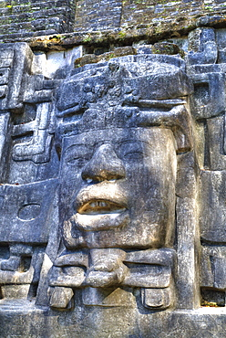 Stucco Mask, The Mask Temple, Lamanai Mayan Site, Belize, Central America