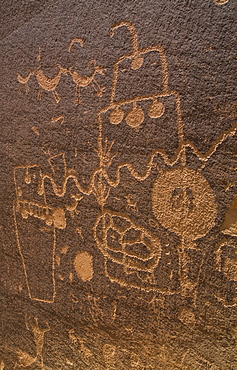 Petroglyphs, Barrier Canyon Style, Indian Creek Corridor, near Monticello, Utah, United States of America, North America